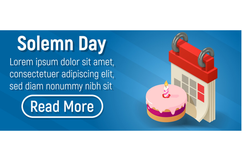 solemn-day-concept-banner-isometric-style