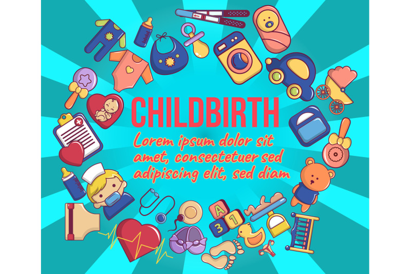 childbirth-concept-banner-cartoon-style