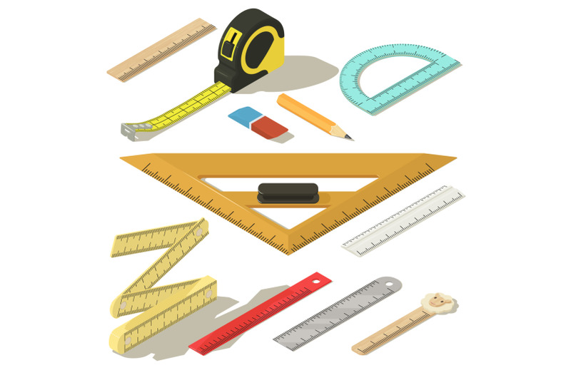 ruler-measure-pencil-icons-set-isometric-style