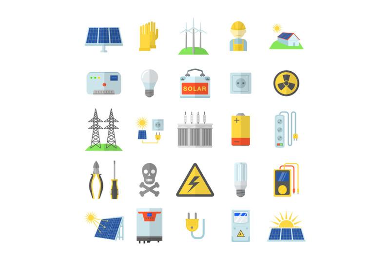 solar-energy-equipment-icons-set-flat-style