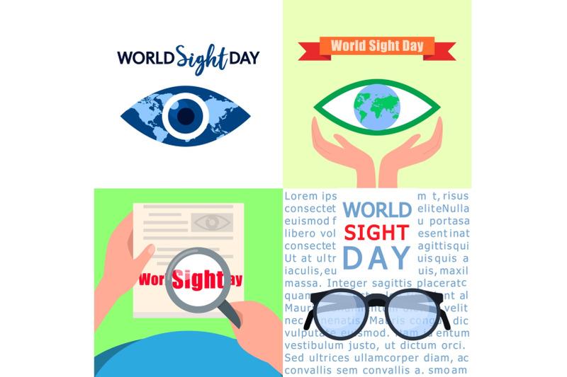 world-sight-day-banner-set-flat-style