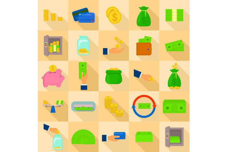 money-types-icons-set-flat-style