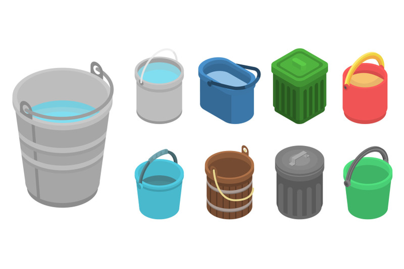 bucket-icon-set-isometric-style