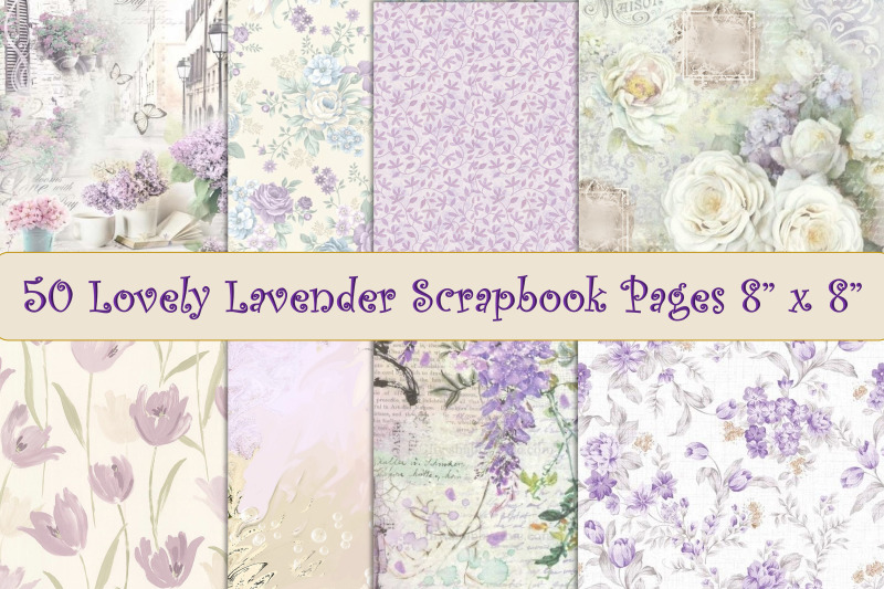 50-scrapbook-papers-lavender-and-lilac-8-quot-x-8-quot