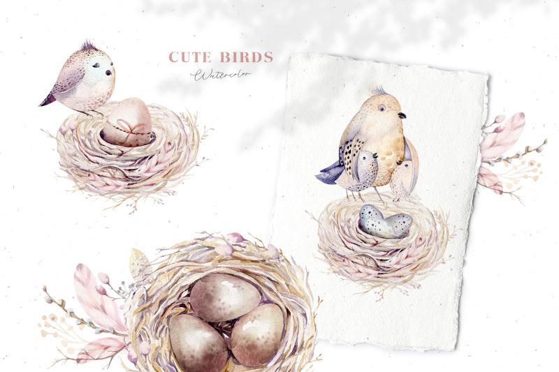 watercolor-happy-easter-birds-amp-nest