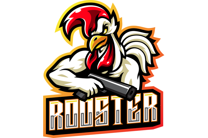 rooster-gunner-esport-mascot-logo-design