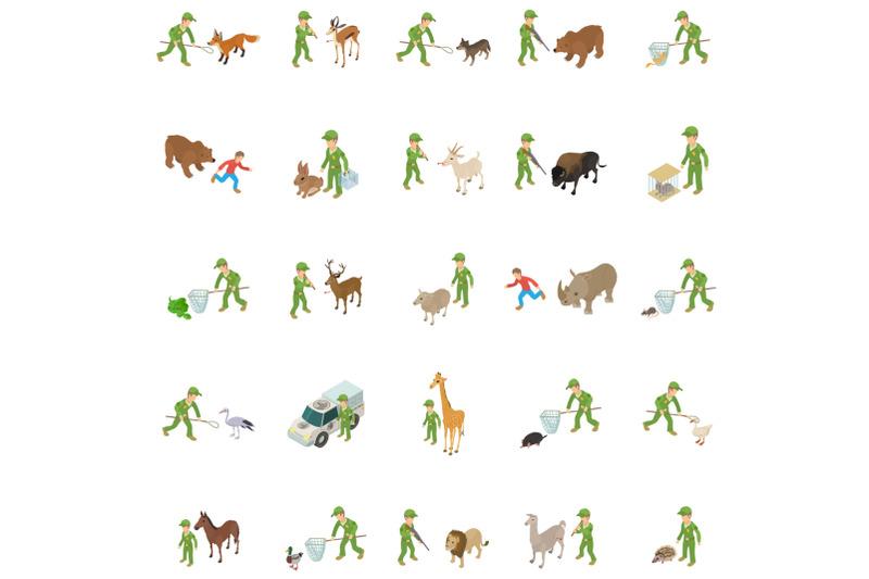 capture-wild-animal-icons-set-isometric-style