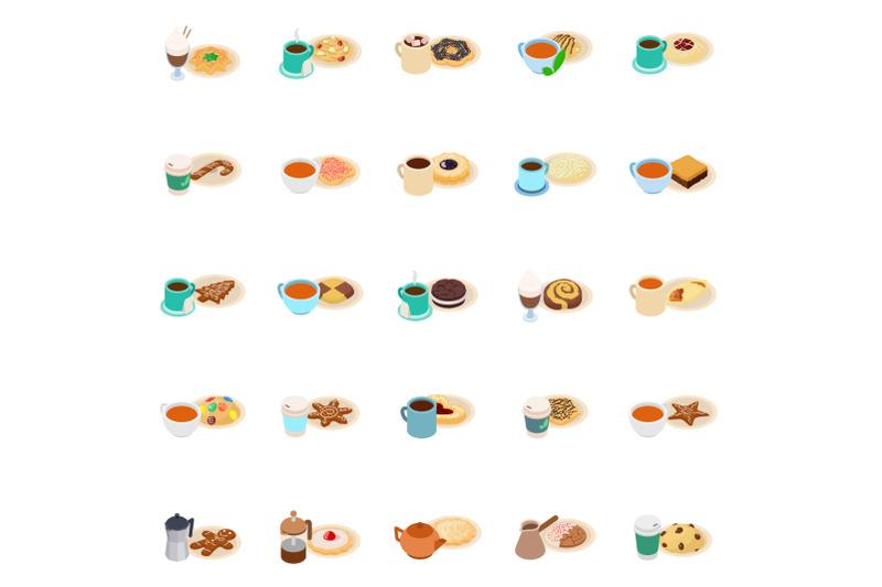 breakfast-icons-set-isometric-style