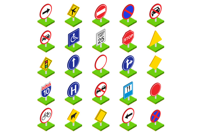 road-sign-icons-set-isometric-style