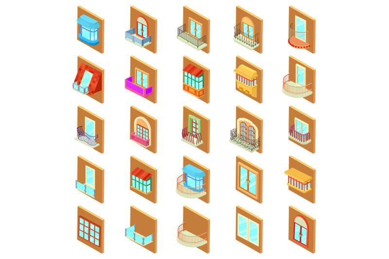 window-icons-set-isometric-style