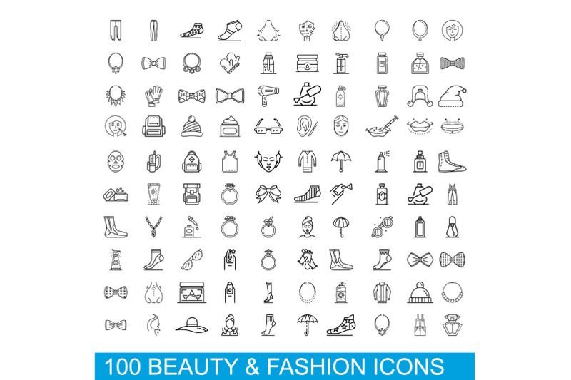 100-beauty-and-fashion-icons-set-outline-style