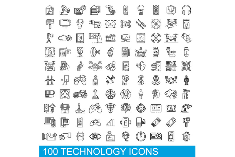 100-technology-icons-set-outline-style