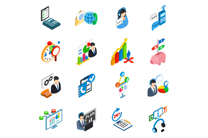 service-support-icons-set-isometric-style