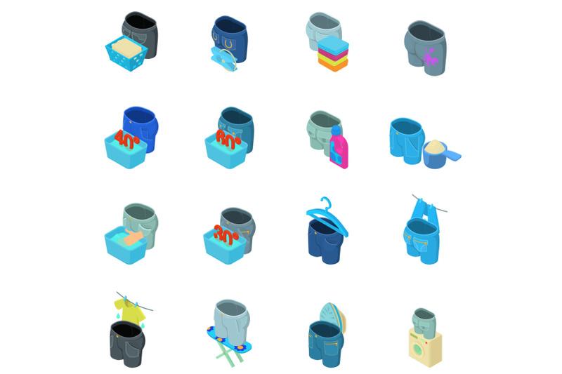 washing-jeans-icons-set-isometric-style