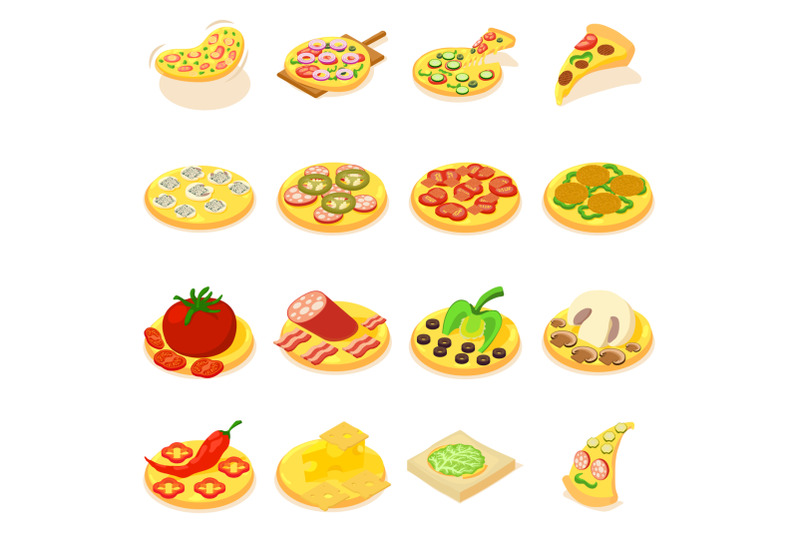 pizza-icons-set-isometric-style