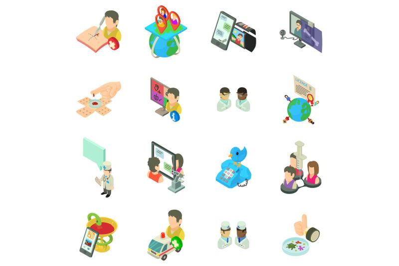 online-medicine-icons-set-isometric-style