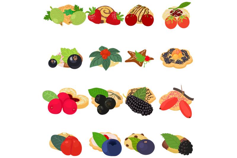 fruit-cookie-icons-set-isometric-style