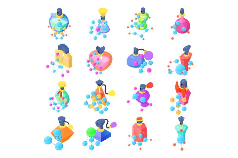 chemistry-of-perfume-icons-set-isometric-style