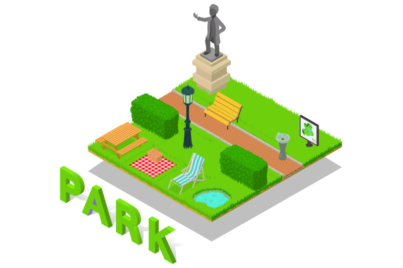 park-concept-banner-isometric-style