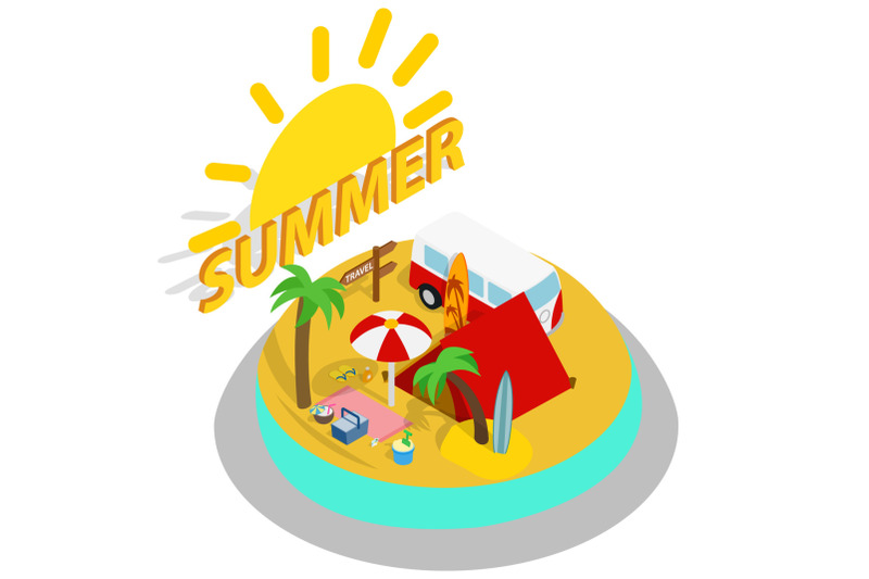 summer-day-concept-banner-isometric-style