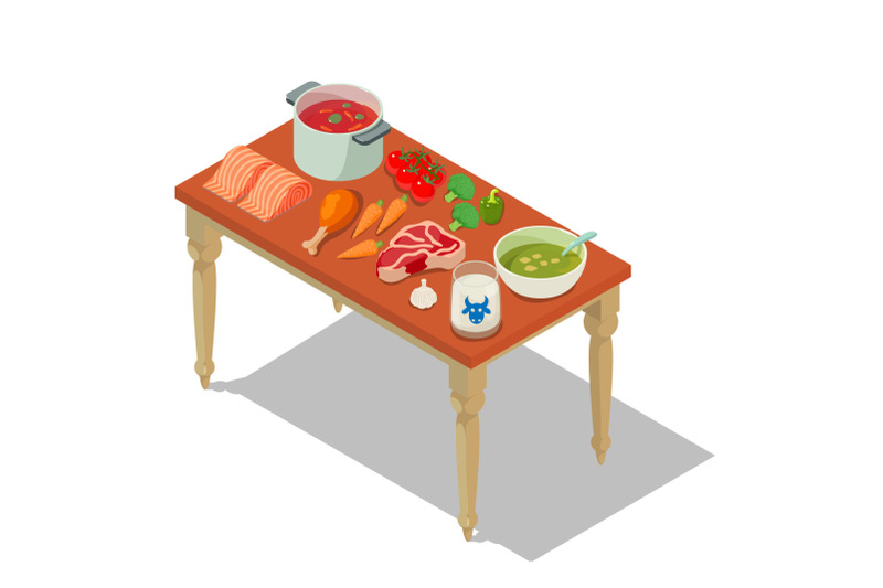 homemade-food-concept-banner-isometric-style