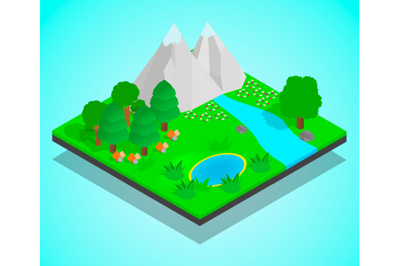 clean-forest-concept-banner-isometric-style