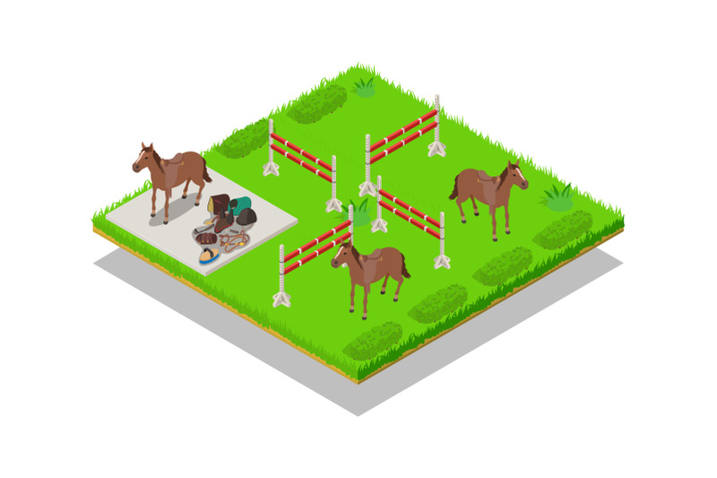 gallop-concept-banner-isometric-style