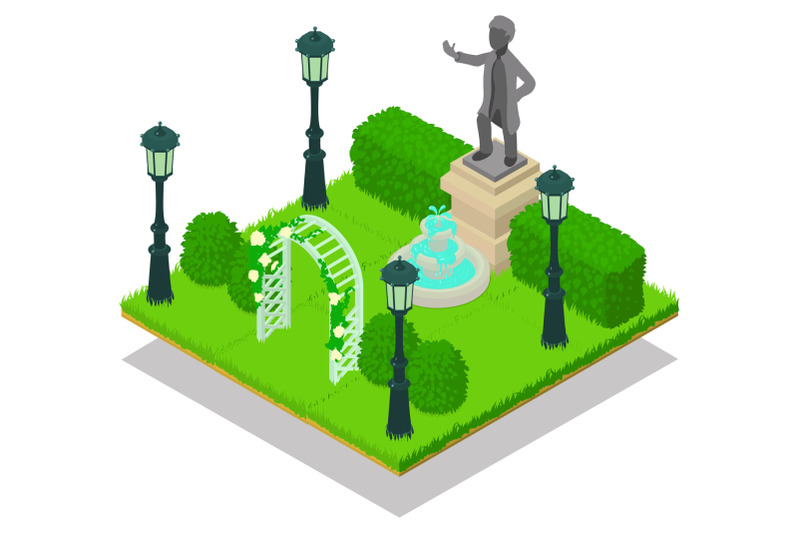 memorial-concept-banner-isometric-style