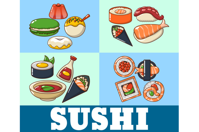 sushi-concept-banner-cartoon-style