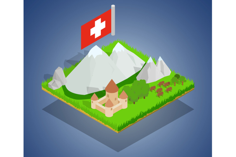 swiss-concept-banner-isometric-style