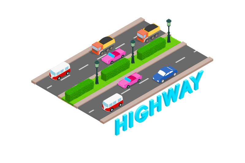 highway-concept-banner-isometric-style