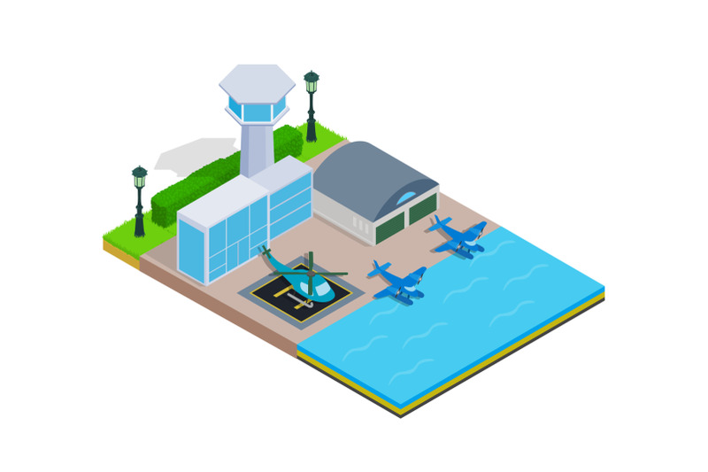 water-airport-concept-banner-isometric-style