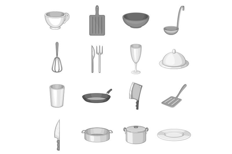 kitchen-utensil-icons-set-gray-monochrome-style