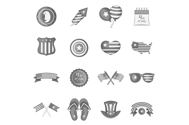 independence-day-icons-set-monochrome