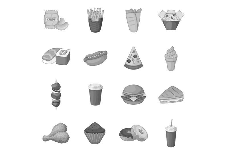 fast-food-icons-set-monochrome