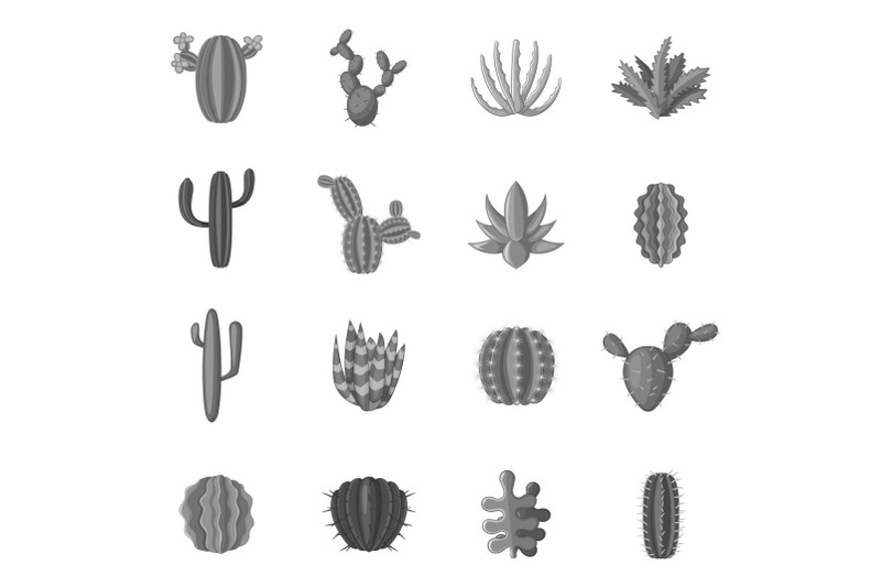 green-cactuses-icons-set-monochrome