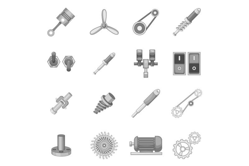 mechanism-parts-icons-set-monochrome