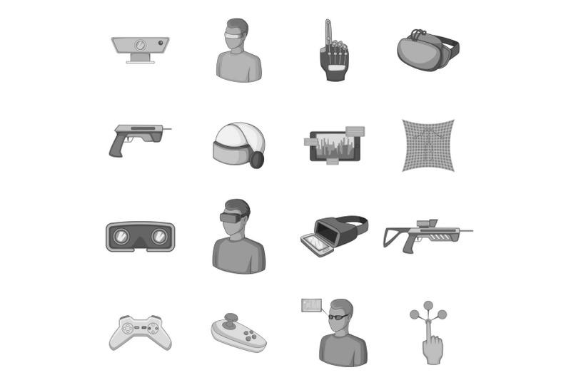 virtual-reality-icons-set-monochrome