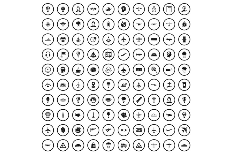 100-aviation-icons-set-simple-style