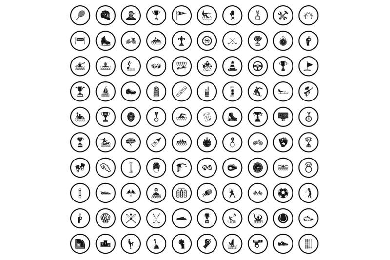 100-champion-icons-set-simple-style