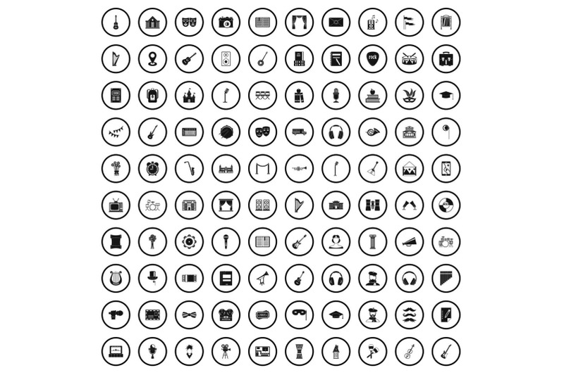 100-conservatory-icons-set-simple-style