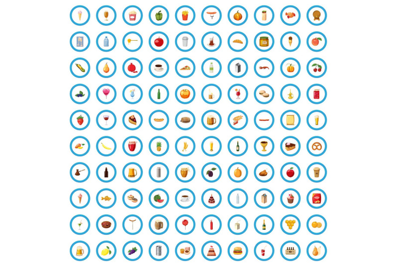 100-beverage-icons-set-cartoon-style