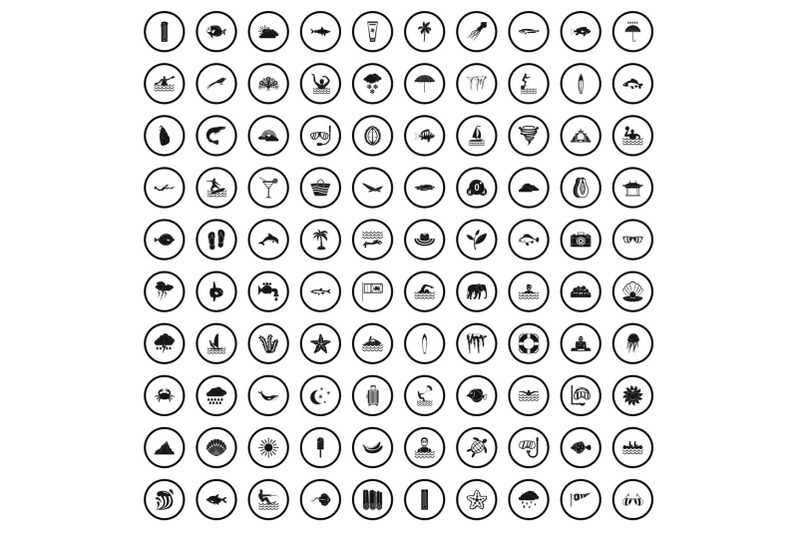 100-diving-icons-set-simple-style
