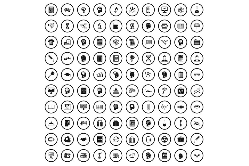 100-knowledge-icons-set-simple-style