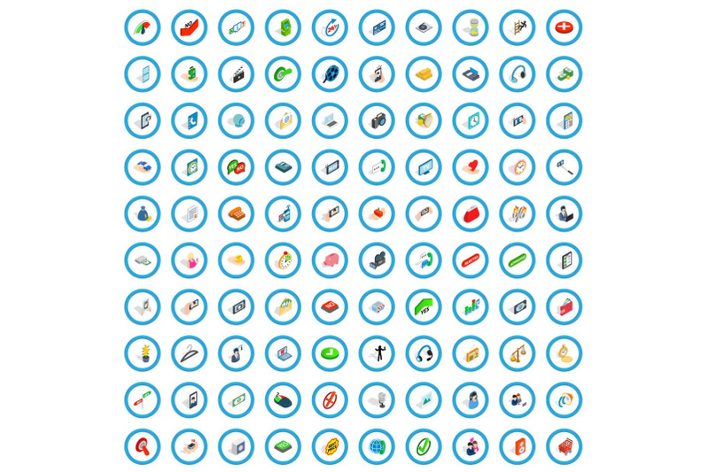 100-communication-icons-set-isometric-3d-style