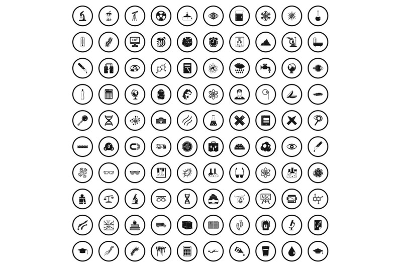 100-microscope-icons-set-simple-style