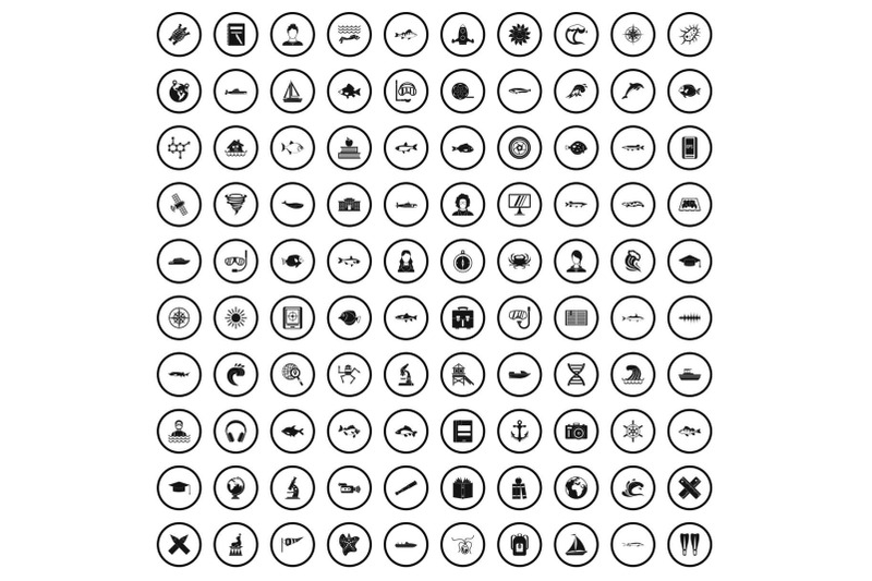 100-oceanologist-icons-set-simple-style