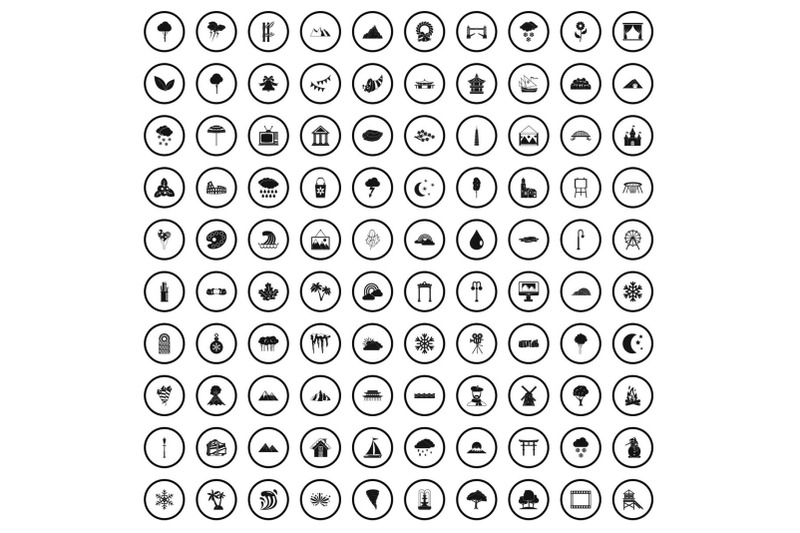100-scenery-icons-set-simple-style