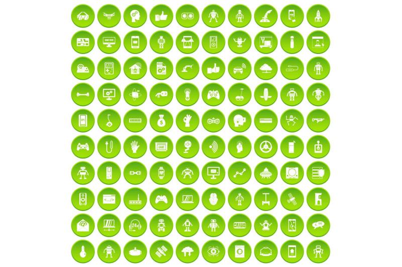 100-robot-icons-set-green
