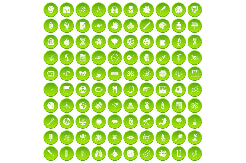 100-science-icons-set-green